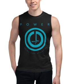 Workout Shirts Men   POWER Button Relaxed Fit Muscle Shirt   Black   Grind Life Athletics