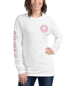 Athleisure | POWER I Womens Relaxed Long Sleeve Shirt | White Front | Grind Life Athletics