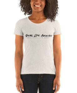 MOTIVATION Vivid Black Tri blend Fitted Workout Shirt Women | Off White Oatmeal | Grind Life Athletics