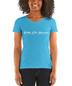 MOTIVATION Vivid White Tri blend Fitted Workout Shirt Women | Blue | Grind Life Athletics