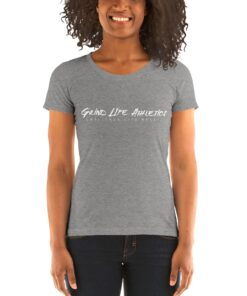 MOTIVATION Vivid White Tri blend Fitted Workout Shirt Women | Grey | Grind Life Athletics