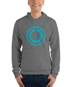 POWER Button Mens Pullover Workout Hoodie | Grey | Grind Life Athletics