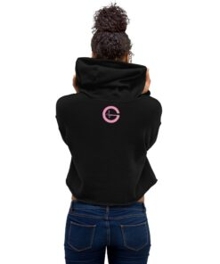 POWER Button Womens Cropped Workout Hoodie | Back Black | Grind Life Athletics