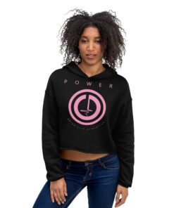 POWER Button Womens Cropped Workout Hoodie | Front Black | Grind Life Athletics