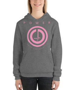 POWER Button Womens Workout Hoodie | Grey | Grind Life Athletics