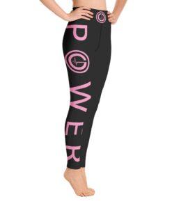 POWER I High Waisted Womens Workout Leggings w/ Inner Pocket | Pink Design Side | Grind Life Athletics