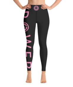 POWER I High Waisted Womens Workout Leggings w/ Inner Pocket | Pink Front | Grind Life Athletics