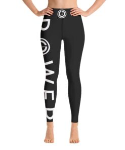 POWER I High Waisted Womens Workout Leggings w/ Inner Pocket | White Front | Grind Life Athletics