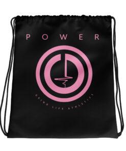 POWER I Pink Drawstring Backpack | Black | Grind Life Athletics
