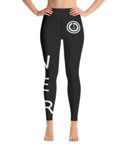POWER II High Waisted Womens Workout Leggings w/ Inner Pocket | White Front | Grind Life Athletics