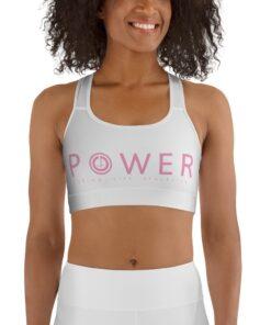 POWER Racerback Sports Bra | Pink White Front | Grind Life Athletics