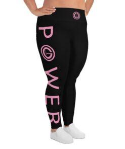 Plus Size Leggings | POWER III Women's Workout Leggings w/ Inner Pocket | Design Side Pink | Grind Life Athletics