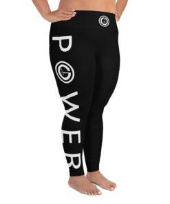 Plus Size Leggings | POWER III Women's Workout Leggings w/ Inner Pocket | Design Side White | Grind Life Athletics