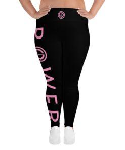 Plus Size Leggings | POWER III Women's Workout Leggings w/ Inner Pocket | Front Pink | Grind Life Athletics