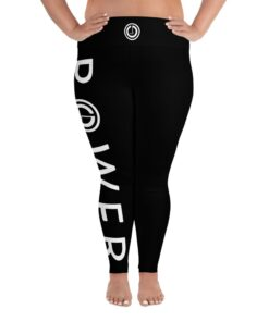 Plus Size Leggings | POWER III Women's Workout Leggings w/ Inner Pocket | Front White | Grind Life Athletics