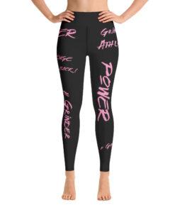MOTIVATION High Waisted Womens Workout Leggings w/ Inner Pocket | Pink Front | Grind Life Athletics