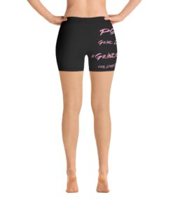 MOTIVATION Womens Yoga Shorts   Pink Black   Back   Grind Life Athletics