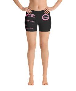 MOTIVATION Womens Yoga Shorts   Pink Black   Front   Grind Life Athletics