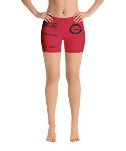 MOTIVATION Womens Yoga Shorts   Red Black   Front   Grind Life Athletics