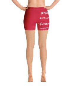 MOTIVATION Womens Yoga Shorts   Red White   Back   Grind Life Athletics