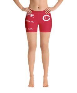 MOTIVATION Womens Yoga Shorts   Red White   Front   Grind Life Athletics