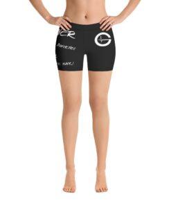 MOTIVATION Womens Yoga Shorts | White Black | Front | Grind Life Athletics