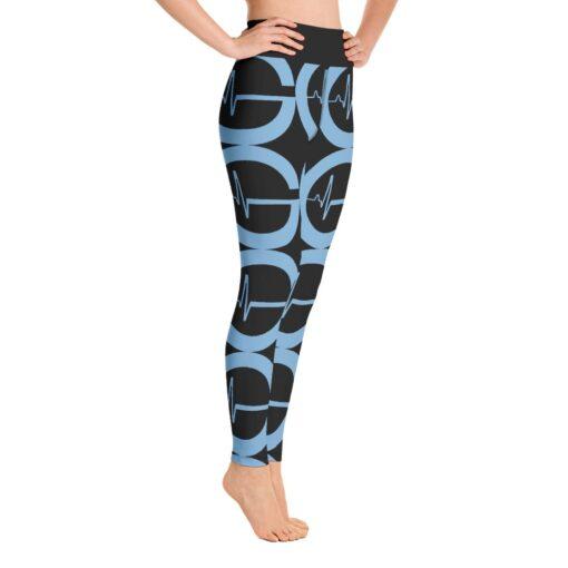 GLA CB Print Womens Workout Leggings   Right   Blue G   Grind Life Athletics
