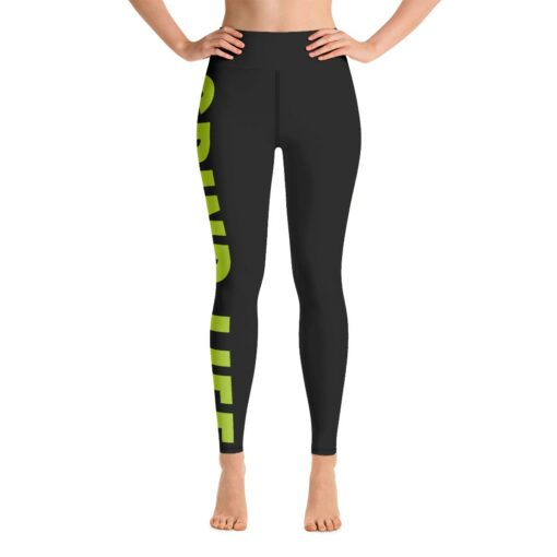 GLNG Womens Workout Leggings   Front   Lime   Grind Life Athletics