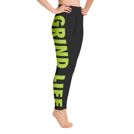 GLNG Womens Workout Leggings   Right   Lime   Grind Life Athletics