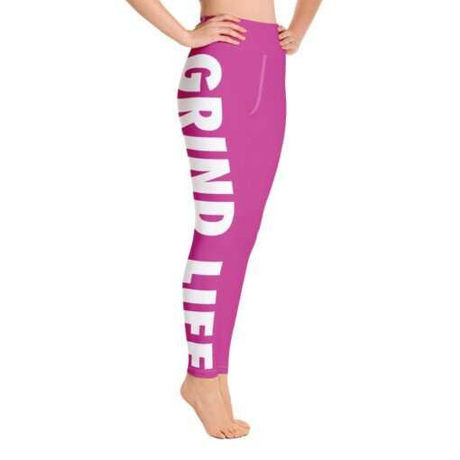 GLPW Womens Workout Leggings   Pink   Right   Grind Life Athletics