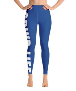 Grind Life High Waisted Womens Workout Leggings | Blue | Front | Grind Life Athletics