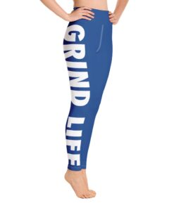 Grind Life High Waisted Womens Workout Leggings | Blue | Right | Grind Life Athletics
