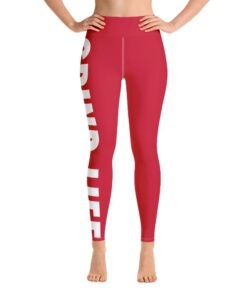 Grind Life High Waisted Womens Workout Leggings | Red | Front | Grind Life Athletics