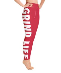 Grind Life High Waisted Womens Workout Leggings | Red | Right | Grind Life Athletics
