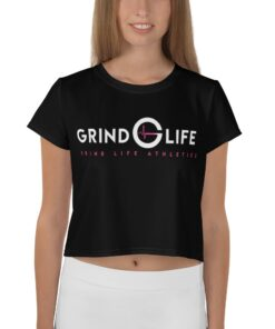 Grind Life Womens Crop Tee | Front | Red White | Grind Life Athletics