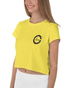 Jungle G Womens Workout Crop Tee | Yellow | L | Grind Life Athletics