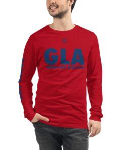 GLA-Unisex-Long-Sleeve-Shirt-Navy-Red-Front-Grind-Life-Athletics