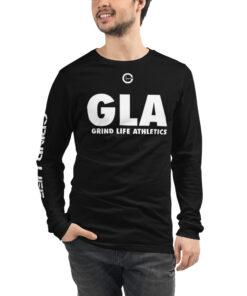 GLA-Unisex-Long-Sleeve-Shirt-White-Black-Front-Grind-Life-Athletics