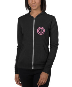 GLA-Power-Zip-Up-Hoodie-Pink-Char-Front-Grind-Life-Athletics